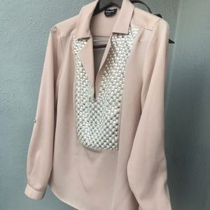 Bebe blouse sleeve open roll up too. Rhinestone L